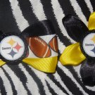 Sporty Bottlecap Set NFL Football Pittsburgh Steelers Logo Hair Bow ~ Free Shipping