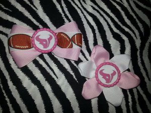 Sporty Bottlecap Set NFL Football Houston Texans Pink Logo Hair Bow ~ Free Shipping