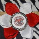 Sporty Bottlecap Flower NCAA Houston Cougars Logo Hair Bow ~ Free Shipping