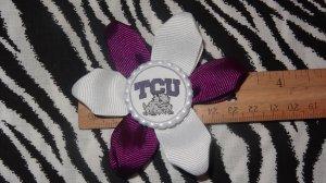 Sporty Bottlecap Flower NCAA TCU Horned Frogs Logo Hair Bow ~ Free Shipping