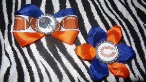 Sporty Bottlecap Set NFL Football Chicago Bears Pink Logo Hair Bow ~ Free Shipping