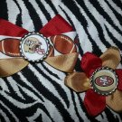Sporty Bottlecap Set NFL Football San Fransico 49ers Logo Hair Bow ~ Free Shipping