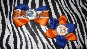 Sporty Bottlecap Set NFL Football Denver Broncos Logo Hair Bow ~ Free Shipping