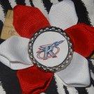 Sporty Bottlecap Flower NBA Basketball Houston Rockets  Logo Hair Bow ~ Free Shipping