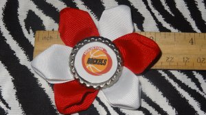 Sporty Bottlecap Flower NBA Basketball Houston Rockets Vintage Logo Hair Bow ~ Free Shipping