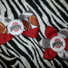 Sporty Bottlecap Set NCAA Ohio State Buckeyes Logo Hair Bow ~ Free Shipping