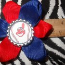 Sporty Bottlecap Flower MLB Baseball Cleveland Indians Hair Bow ~ Free Shipping