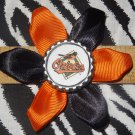 Sporty Bottlecap Flower MLB Baseball Baltimore Orioles Hair Bow ~ Free Shipping