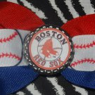 Sporty Bottlecap Bowtie MLB Baseball Boston Red Sox Hair Bow ~ Free Shipping