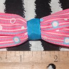 Simply Cute Pink Stripes and Dots 3 x 1 inch Hair Bow Clip ~ Free Shipping