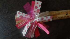 Cheer-riffic Pom Pom Pink Dots 4 inch Hair Bow~Free Shipping