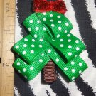 Christmas Tree with Red Bow 2.5 x 2  inch Hair Bow Clip ~ Free Shipping