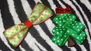 Christmas Tree with Red Bow+ Simply Cute Merry Christmas Hair Bow Clip ~ Free Shipping