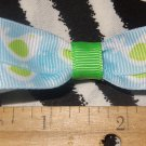 Simply Cute Baby Blue Lime Green Birds 3 x 1 inch Hair Bow Clip ~ Free Shipping