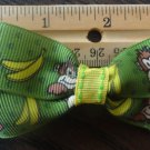 Simply Cute Green Monkey Banana 3 x 1.5 inch Hair Bow on Lined Alligator Clip ~ Free Shipping