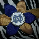 Sporty Bottlecap Flower NCAA Notre Dame Fighting Irish Hair Bow ~ Free Shipping