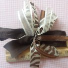 Cheer-riffic Pom Pom Brown Beige Zebra Animal Print 4 inch Hair Bow~Free Shipping