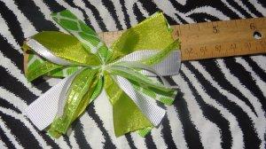 Cheer-riffic Pom Pom Lime Green Giraffe Animal Print Hair Bow on Lined Alligator Clip~Free Shipping
