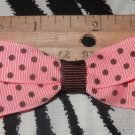 Simply Cute Pink with Brown Polka Dots 3 x 1 inch Hair Bow Clip ~ Free Shipping