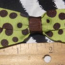 Simply Cute Green with Brown Dots 3 x 1 inch Hair Bow Clip ~ Free Shipping