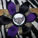 Sporty Bottlecap Flower NFL Football Baltimore Ravens Crest Sparkly Hair Bow ~ Free Shipping