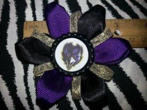 Sporty Bottlecap Flower NFL Football Baltimore Ravens Bird Sparkly Hair Bow ~ Free Shipping