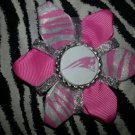 Sporty Bottlecap Flower NFL Football New England Patriots Zebra Print Hair Bow ~ Free Shipping