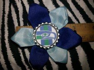 Sporty Bottlecap Flower NFL Football Seattle Seahawks Retro Hair Bow ~ Free Shipping