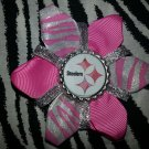 Sporty Bottlecap Flower NFL Football Pittsburgh Steelers Zebra Animal Print Hair Bow ~ Free Shipping