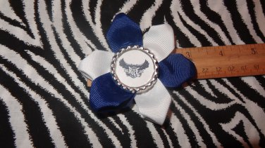 Sporty Bottlecap Flower Rice University Owls  Hair Bow ~ Free Shipping