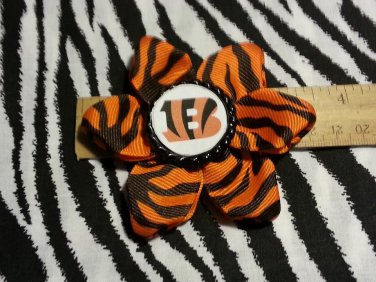 "Sporty Bottlecap Flower NFL Football Cincinnati Bengals ""B"" Animal Print Hair Bow ~ Free Shipping"
