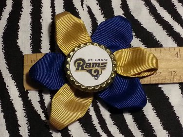 Sporty Bottlecap Flower NFL Football St. Louis Rams Hair Bow ~ Free Shipping