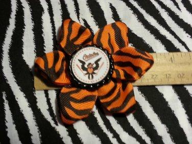 Sporty Bottlecap Flower MLB Baseball Baltimore Orioles Animal Print Hair Bow ~ Free Shipping