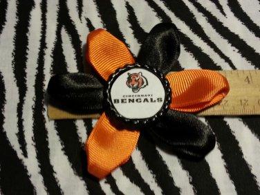 Sporty Bottlecap Flower NFL Football Cincinnati Bengals Tiger Hair Bow ~ Free Shipping