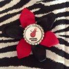 Sporty Bottlecap Flower NBA Basketball Miami Heat Logo Hair Bow ~ Free Shipping