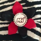 Sporty Bottlecap Flower NBA Basketball Miami Heat Letters Logo Hair Bow ~ Free Shipping
