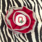 Sporty Bottlecap Fabric Flower NCAA Ohio State Buckeyes O Hair Bow ~ Free Shipping