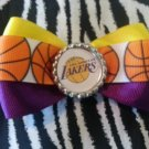 Sporty Bottlecap Bowtie NBA Basketball Los Angeles LA Lakers Logo Hair Bow ~ Free Shipping