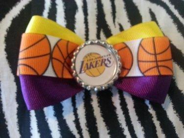 Sporty Bottlecap Bowtie NBA Basketball Los Angeles LA Lakers Logo Hair Bow ~ Free Shipping