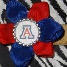 Sporty Bottlecap Flower NCAA Arizona Wildcats Logo Hair Bow ~ Free Shipping