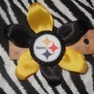 Sporty Bottlecap Flower NFL Football Pittsburgh Steelers Logo Hair Bow ~ Free Shipping