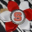 Sporty Bottlecap Flower NCAA North Carolina State University Wolfpack Logo Hair Bow ~ Free Shipping