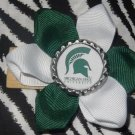 Sporty Bottlecap Flower NCAA Michigan State Spartan Logo Hair Bow ~ Free Shipping