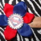 Sporty Bottlecap Flower MLB Baseball Philadelphia Phillies Hair Bow ~ Free Shipping