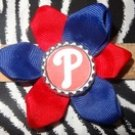 "Sporty Bottlecap Flower MLB Baseball Philadelphia Phillies ""P"" Hair Bow ~ Free Shipping"