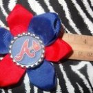 Sporty Bottlecap Flower MLB Baseball Atlanta Braves Hair Bow ~ Free Shipping