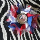 Bottlecap Flower FIFA World Cup USA Peace Flag Hair Bow ~ Free Shipping
