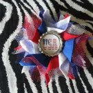 Bottlecap Flower FIFA World Cup USA Flag Hair Bow ~ Free Shipping