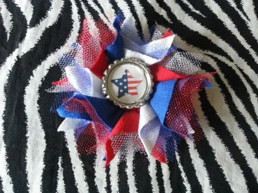 Bottlecap Flower FIFA World Cup USA Flag Star Hair Bow ~ Free Shipping