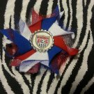 Bottlecap Flower FIFA World Cup USA Logo Hair Bow ~ Free Shipping